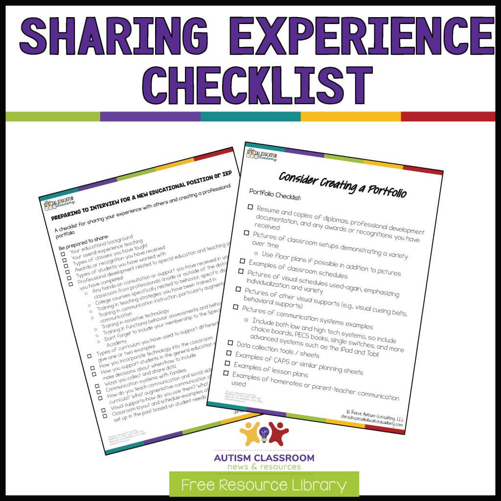Sharing Experience Checklist