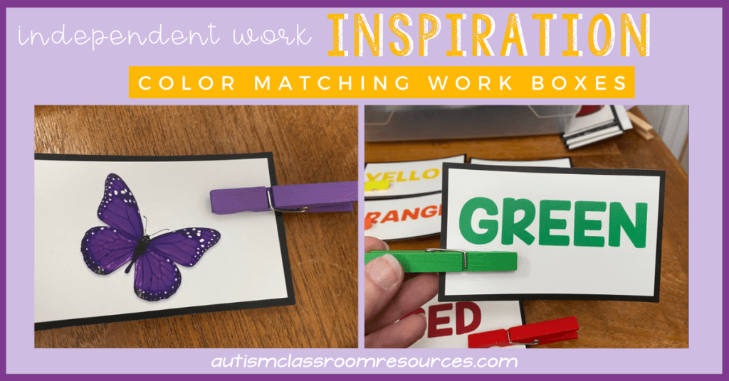 Independent Work Inspiration Color Matching Task With Clothespins