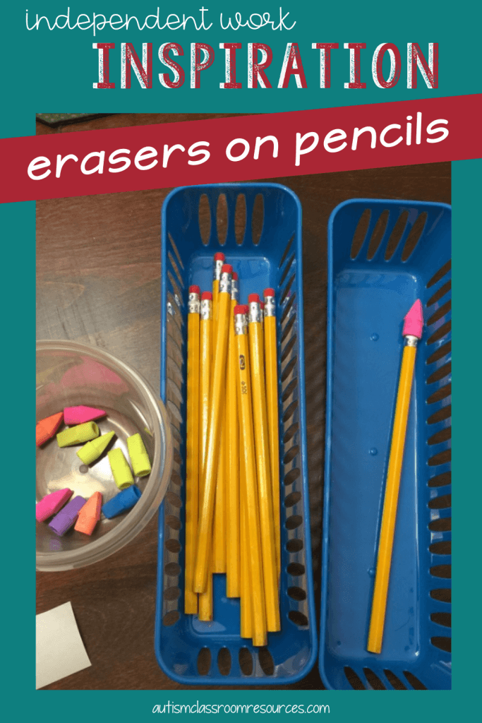 Simple DIY Task Box for Special Education: Erasers on Pencils Assembly Task