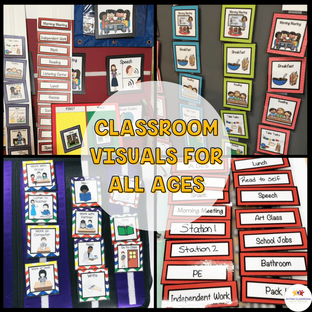 Classroom Visuals for All Ages: Pictures of different types of visual schedules