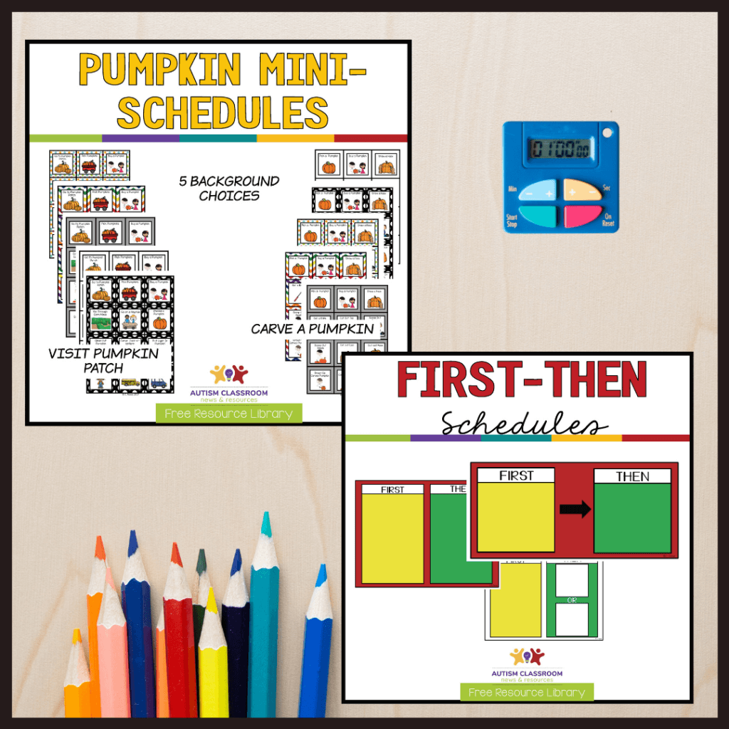 Pumpkin mini schedules for carving a pumpkin and going to the pumpkin patch. Plus a free first-then set of visuals from the Free Resource Library.