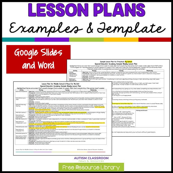Lesson Plans Examples and Template In Google Docs and Word FOrmat