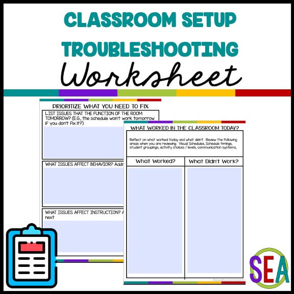 Classroom Setup Troubleshooting Worksheet From the Special Educator academy