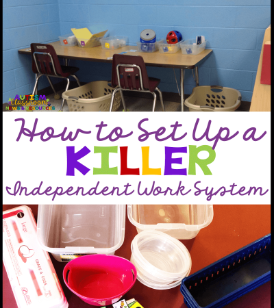 Setting up and getting started with independent work systems is not rocket science. But you do want to make sure you do it right to avoid problems in the future. This post outlines just what materials you need to get set up tomorrow. #autismclassroomresources #independentworksystems