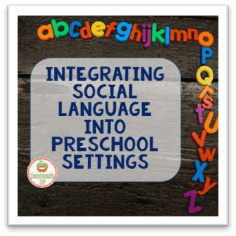 For preschool teachers and SLPS this is a great guest post on how to integrate social language into the preschool setting. There are some great resources of videos and websites to implement in the classroom. Great for working with students with autism as well as any students with social needs.