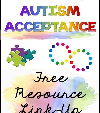 Building autism acceptance Free resource linkup [puzzle pieces and infinity neurodiversity symbol]