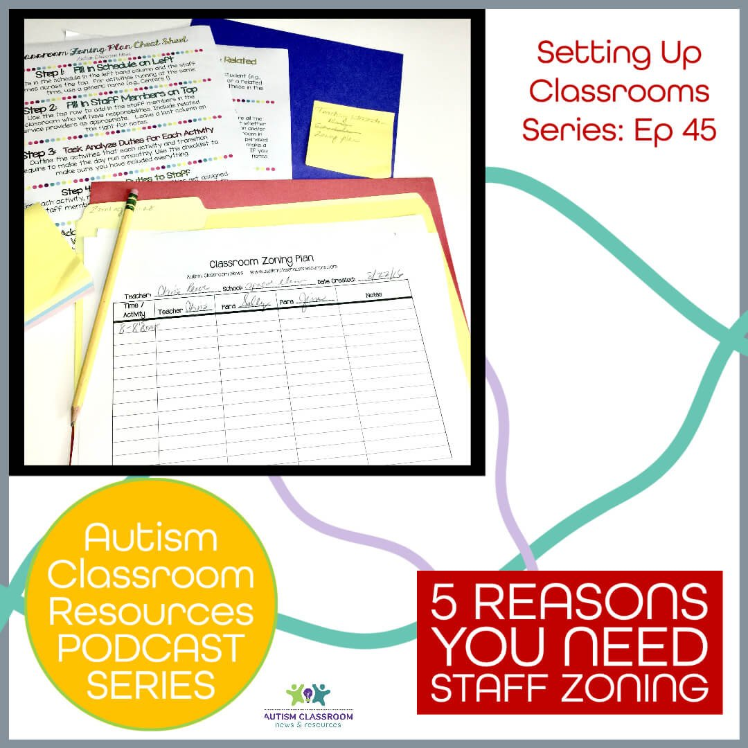 Setting up classrooms series. Autism Classroom Resources Podcast. 5 Reasons Why You Need a Staff Zoning Plan. Episode 45