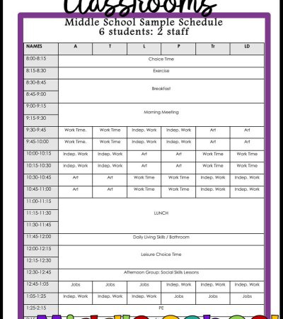 Setting up the schedule in special education can be a bear. Check out this example of an middle school schedule along with why we scheduled it as we did.