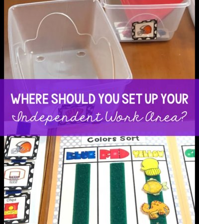 I recently had someone ask me if the independent work area needs to be a separate area of the classroom. The answer isn't quite cut and dry, but here are some advantages that I thought I would share.